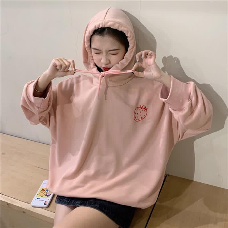 Woman Fashion Hoodie Strawberry Pringting Pattern School Style Oversize Sweatshirt Loose Tops