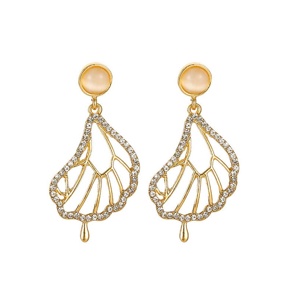 1 Pair of Women's Earrings  Full-diamond Butterfly-shape Opal Earrings Golden