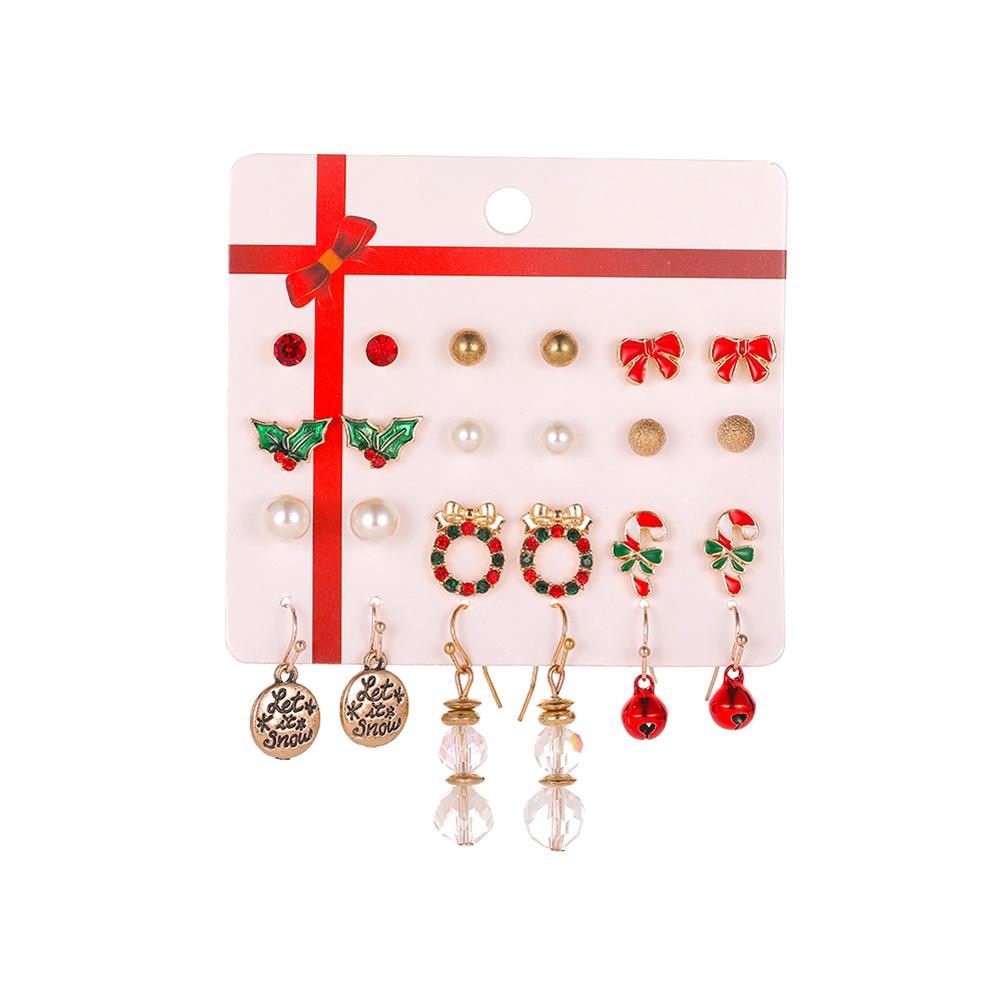 9Pcs/Set Women Girls Alloy Earrings Butterfly/Bell/Snowflower Shape Jewelry Earrings