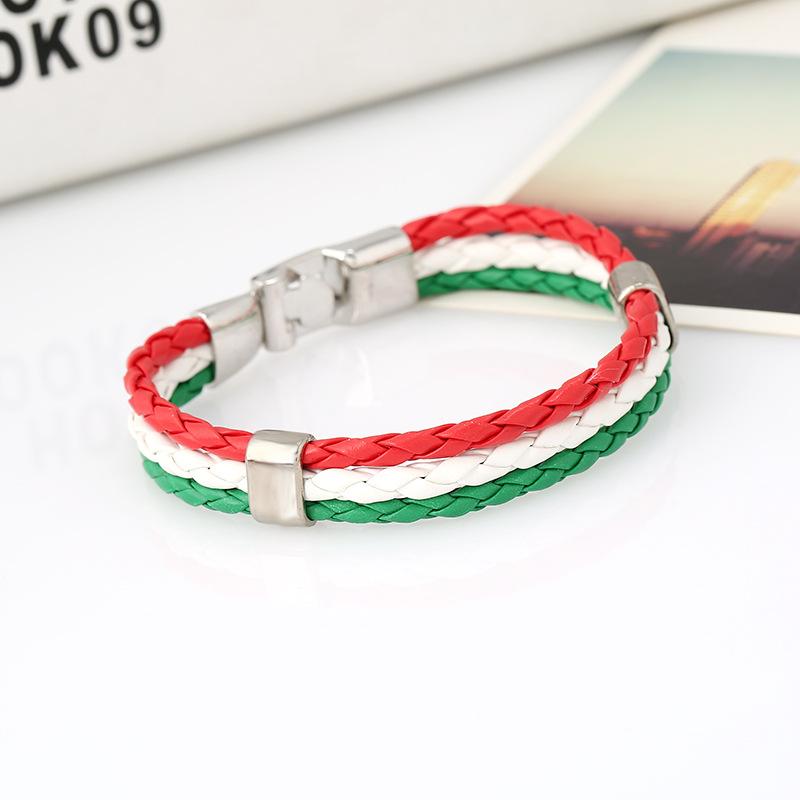 Men Women Bracelet Braided PU Italian Flag Bangle Leather Alloy for Green White red Italy