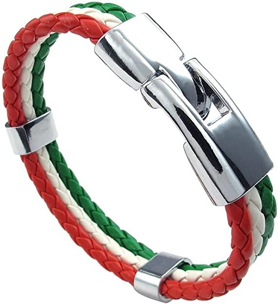 Men Women Bracelet Braided PU Italian Flag Bangle ...