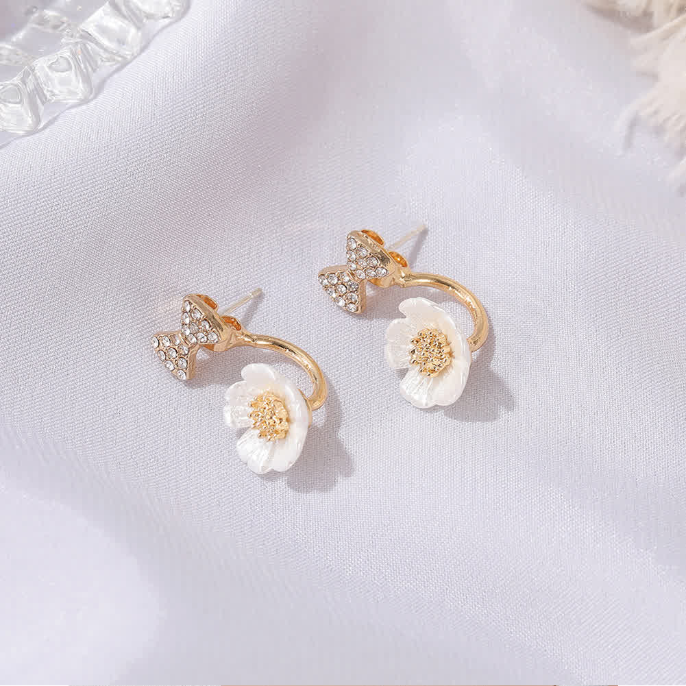 1  Pair  of   Women's   Earrings   Alloy  Daisy  Bowknot   Shell  Flower  Earrings Golden