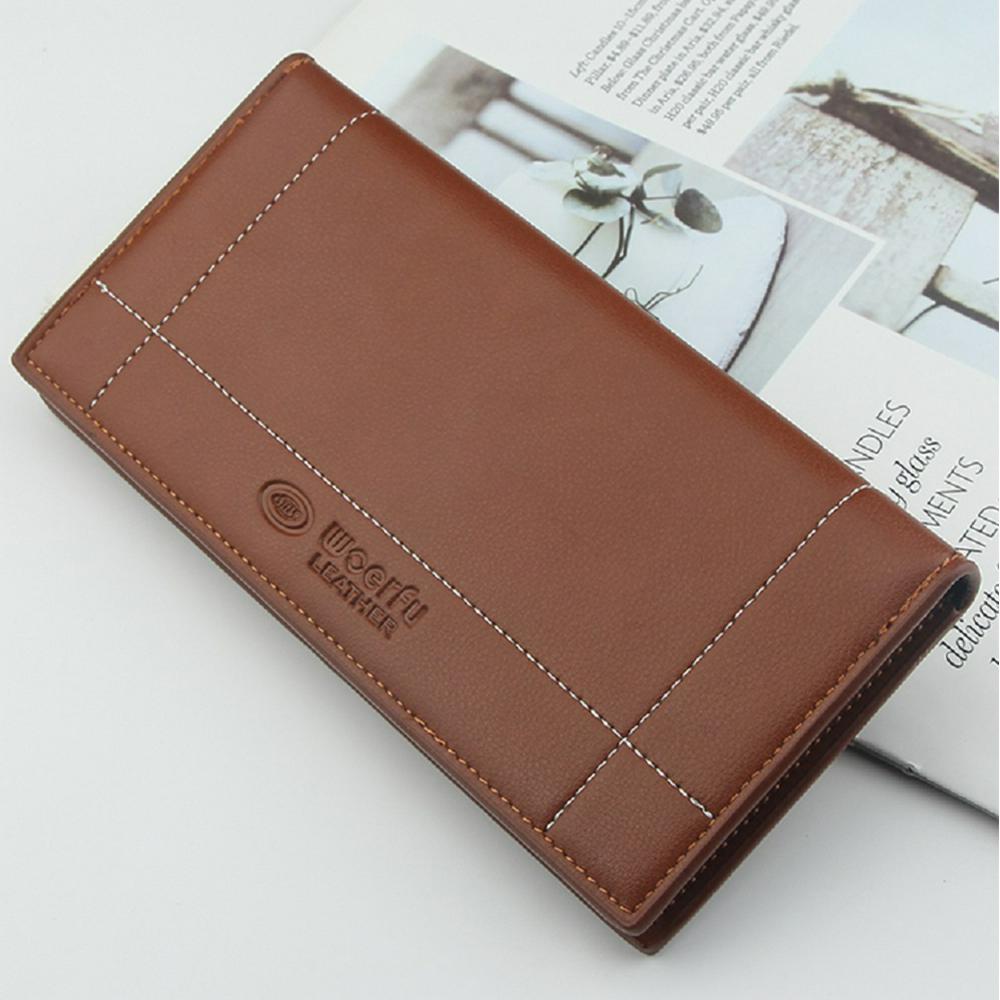 Men's Wallet Long Multi-card 2 Folding Pu Soft Faux Leather Purse