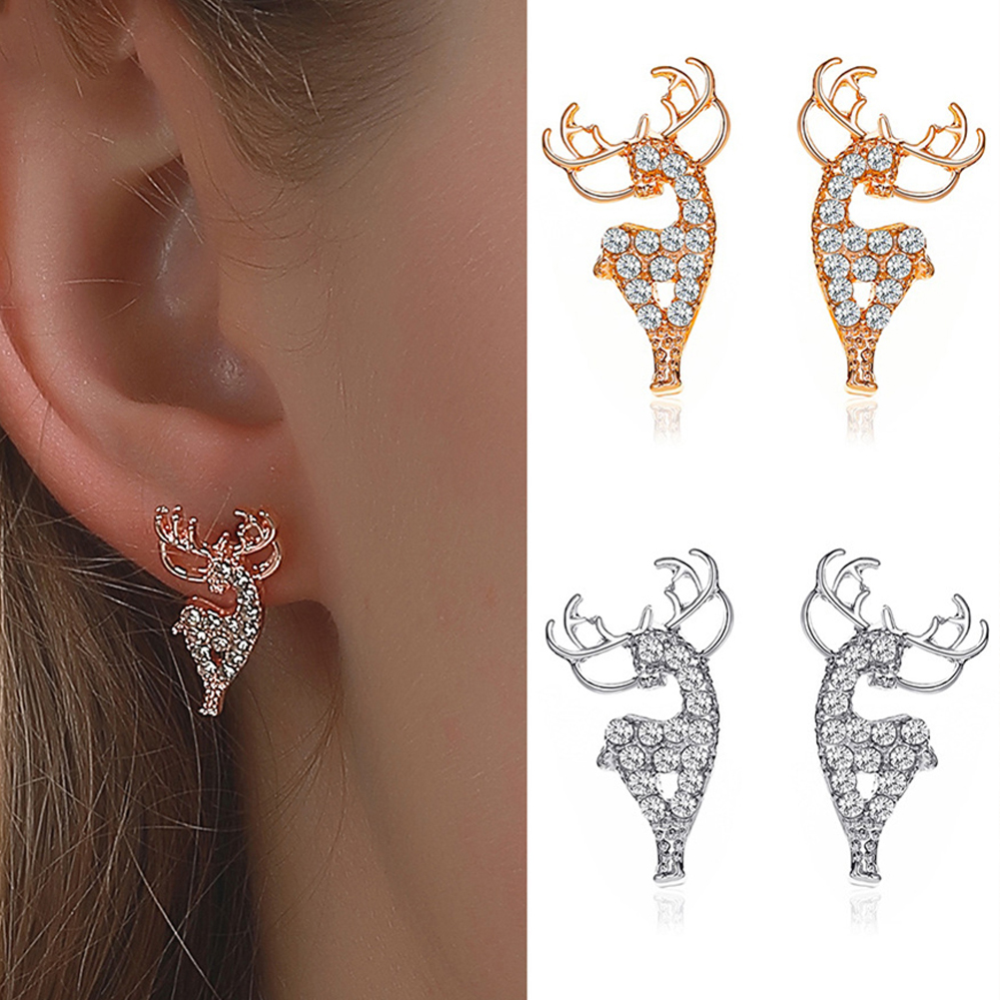 1  Pair of  Women's  Earrings  Alloy  Christmas Deer-shape  Earrings Silver