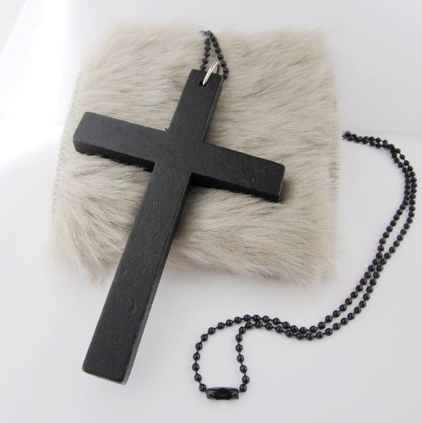 2 Pcs/set Chain Accessories Metal Beaded Chain+ Wood Pendant black