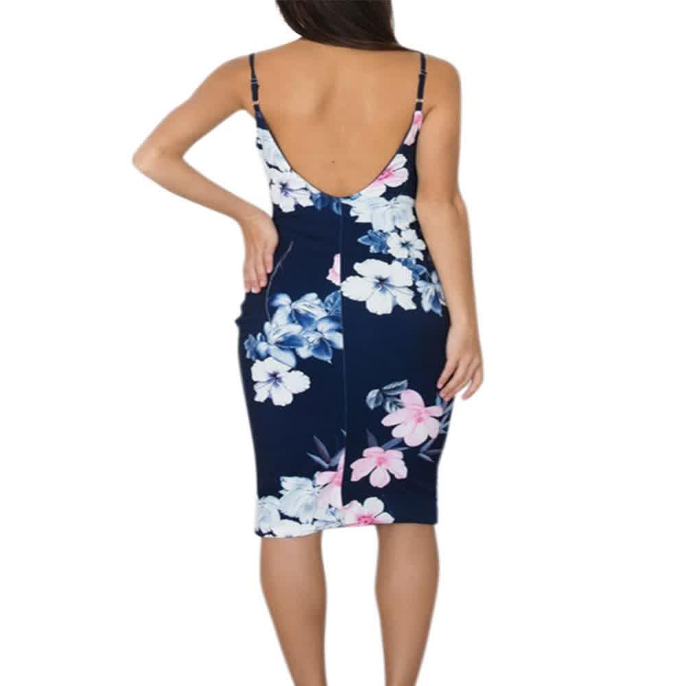 Sexy Floral Backless Bodycon Club Dress