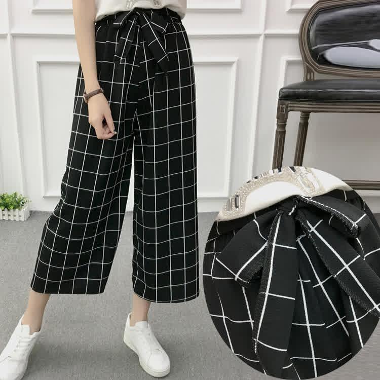Women Black High Elastic Waist Ninth Loose Pants for Summer Wear