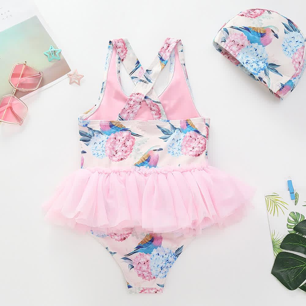 Cute Printing Mesh Lace TUTU Dress Shape Swimwear + Swimming Cap Set 6011 leopard + same color hat