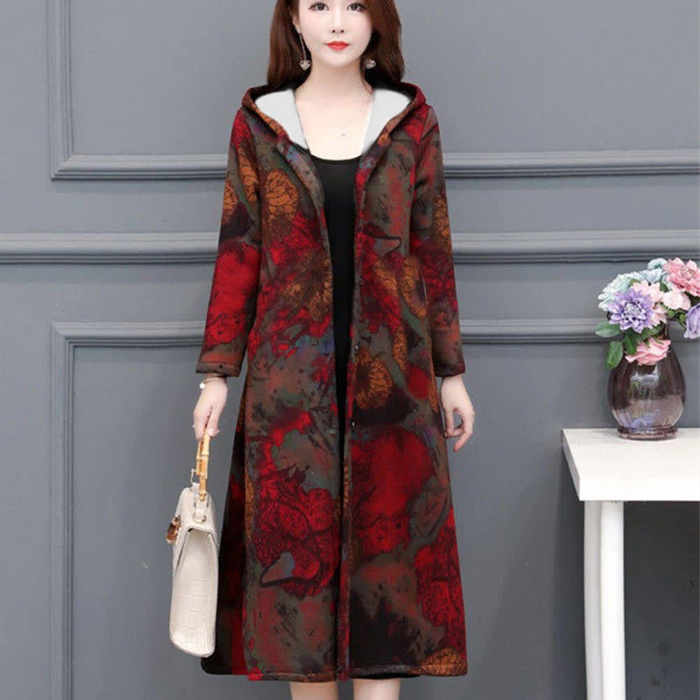 Autumn Winter Large Size Middle Age Mom Clothes Medium Overknee Printing Top Jacket