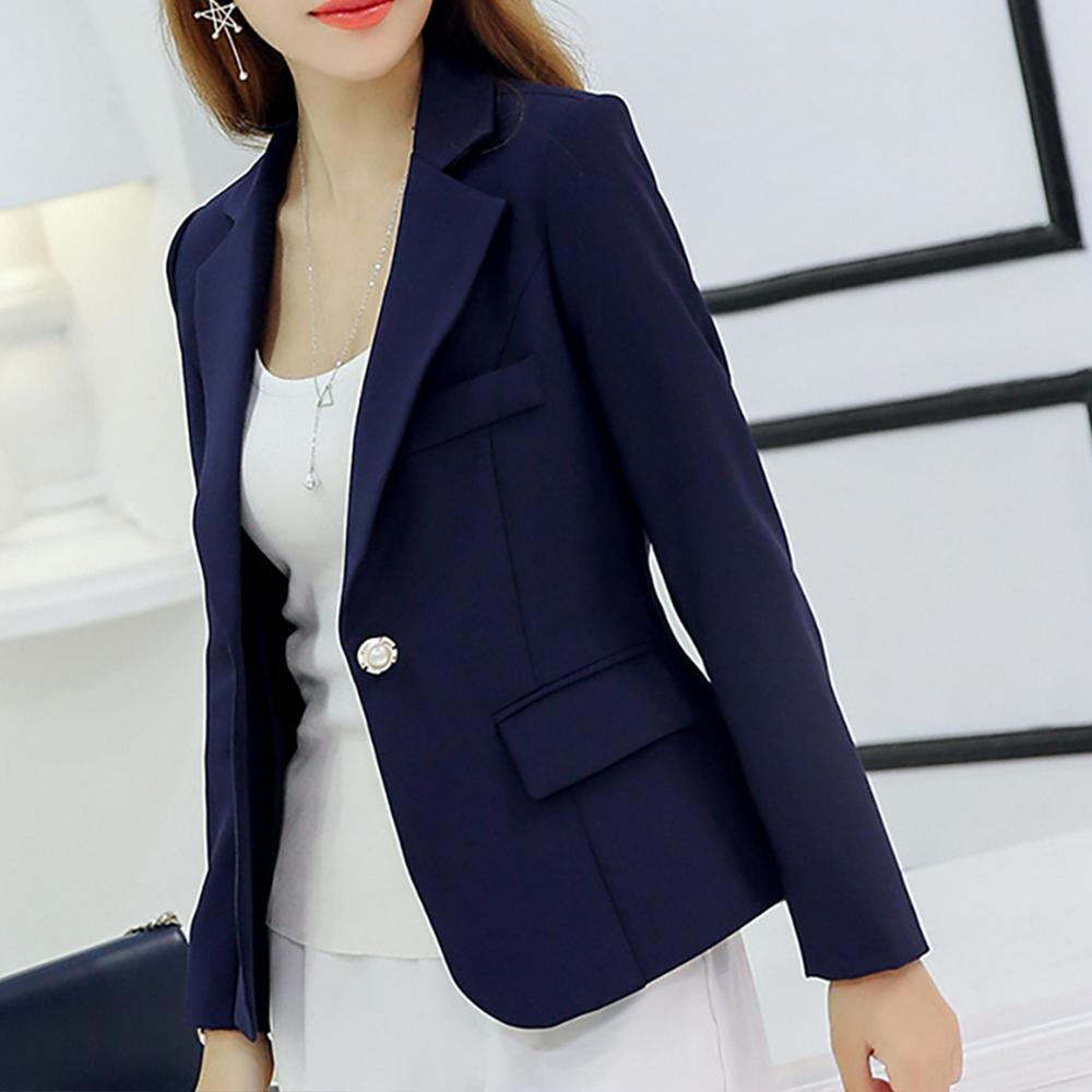 Women Slim Long Sleeve Jacket Deep Blue M