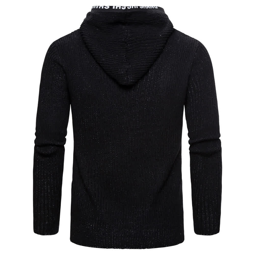 Men Autumn Slim Knit Cardigan Zip Up Hooded Sweater Jacket Coat Tops black_M