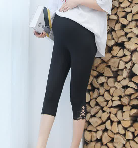Maternity Leggings Modal Lace Adjustable Spring Summer Pregnant Women Trousers