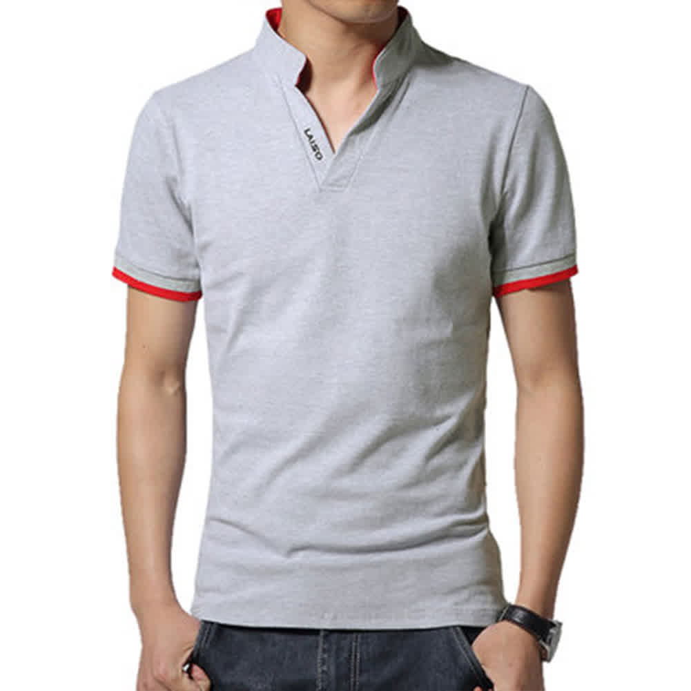 Men Casual Solid Color Cuff Stripe Pattern Standing Collar Shirt