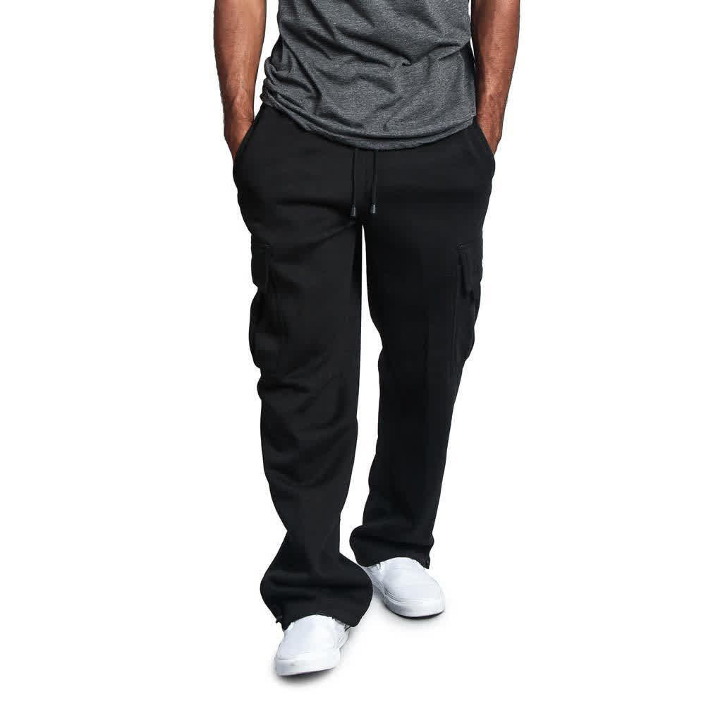 Men Casual Sports Multi Pockets Loose Straight Overalls Pants