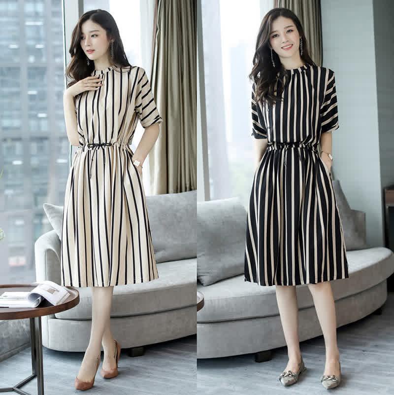 Elegant Stripes Pattern Tight Waist Dress