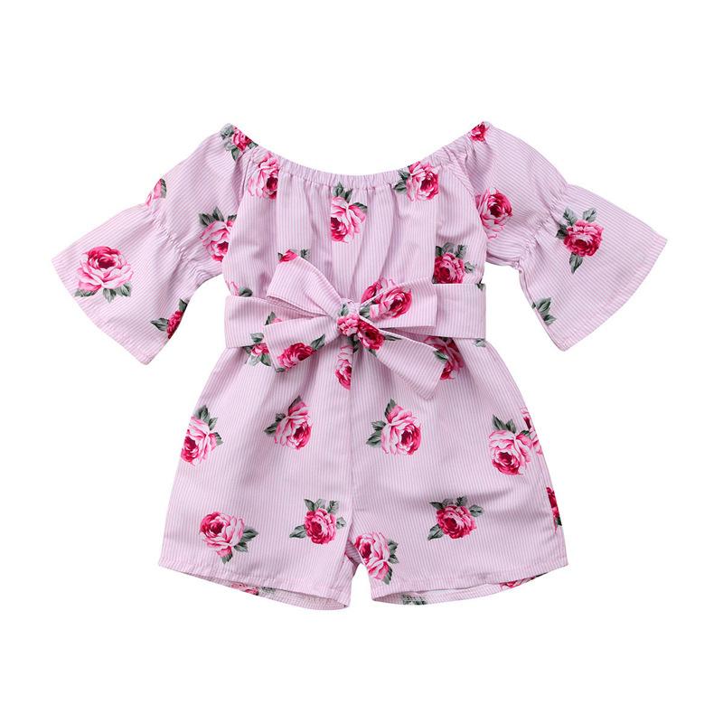 Girls Summer Cute Jumpsuit Baby Print Bows Climbing Romper  Sunflower stripes