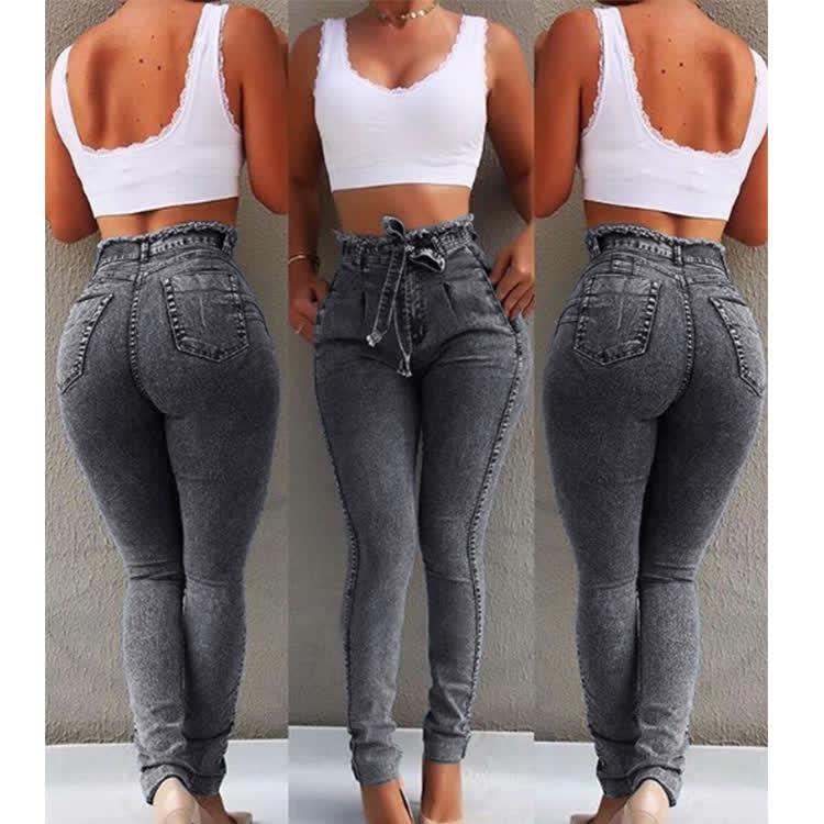 Women Stretchable Body-building Fringed Waist Belt High-waist Jeans Light