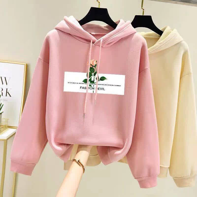 Women Fleece Lined Long-Sleeved Thicken Hoodie for Students in Autumn Winter