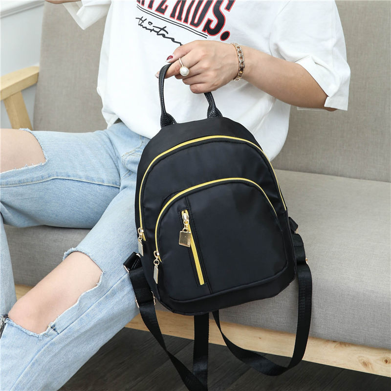 Women Fshion Backpack Chic Ulzzang Solid Color Nylon Bag for Out Travel  black