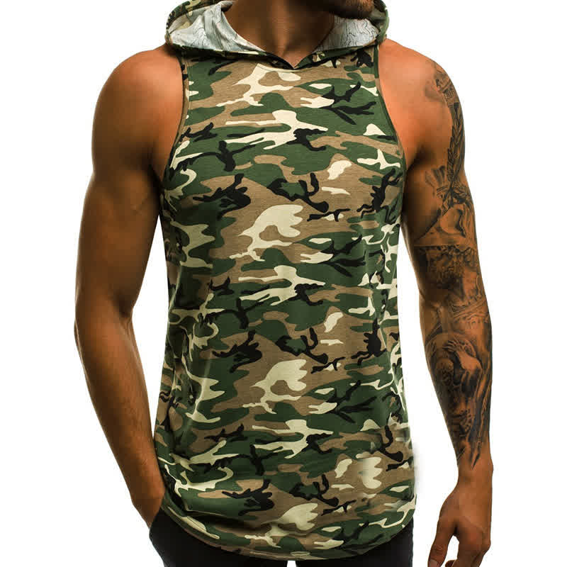 Man Vest Camouflage Casual Tops Patchwork Running Jacket Sleeveless Sports