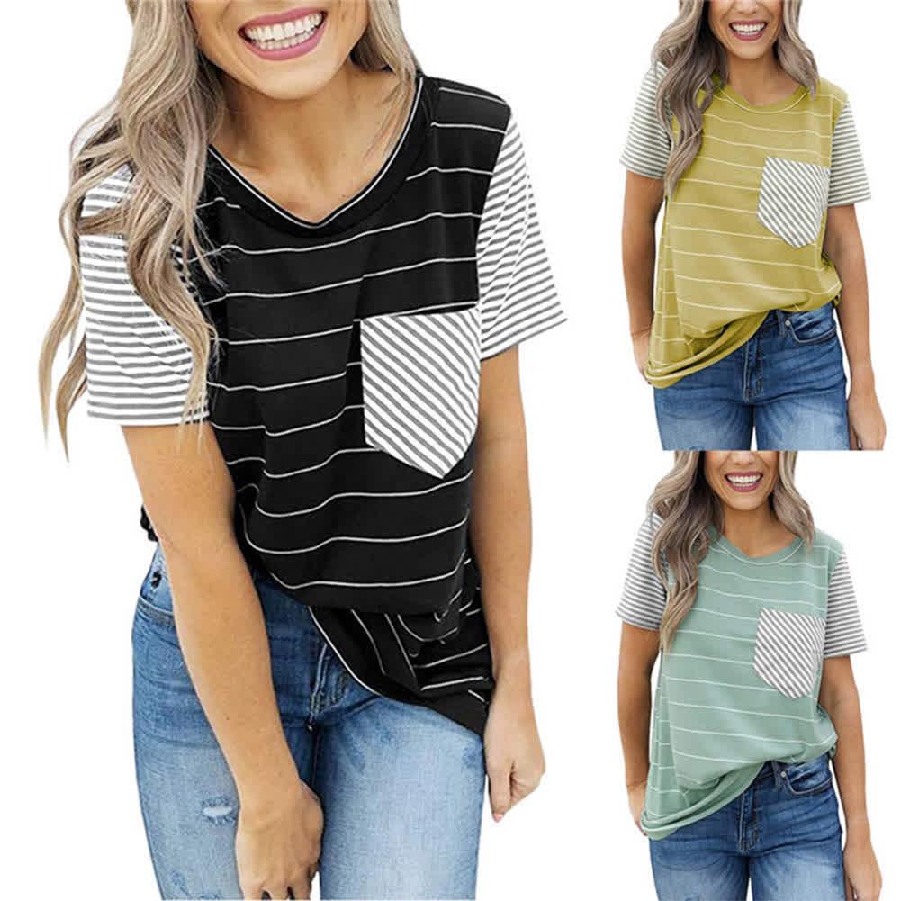 Female Fashion Stripes Shirts Stitching Pocket Short Sleeve Tops  Brown_XXL