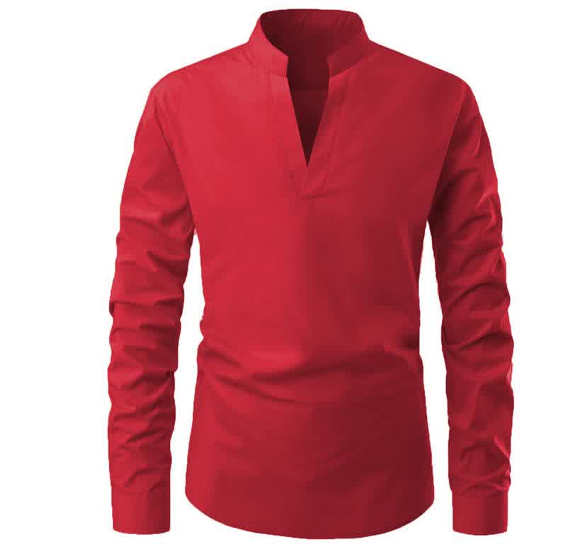 Men Solid Color Pullover Stand Collar Long Sleeve Casual Shirt Navy