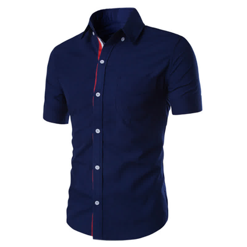 Summer Male Casual Short-sleeve Shirt Solid Colour...