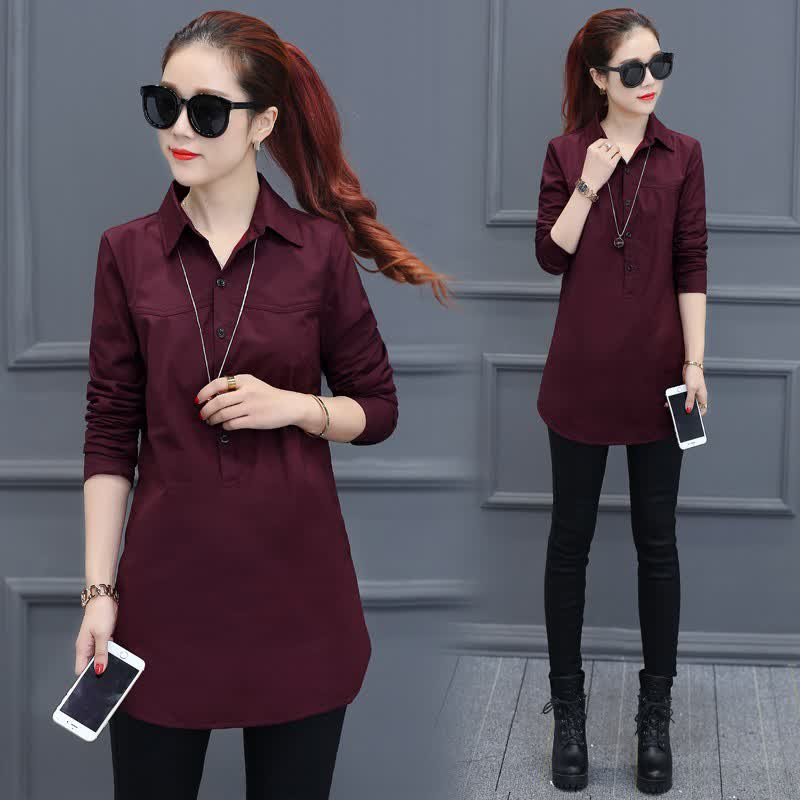 Women Loose Long-sleeved Business Suit Collar Solid Color Shirt Pink_L