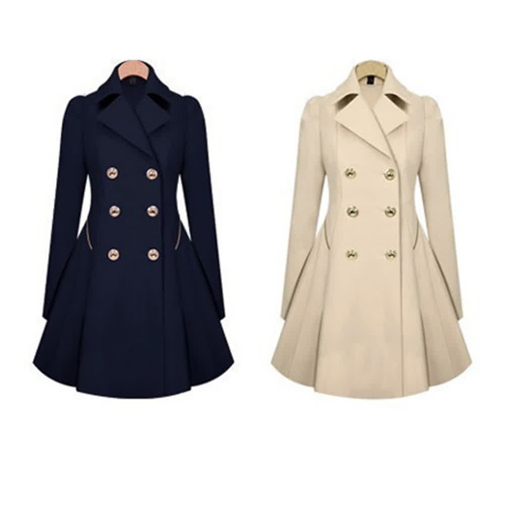 Women Slim Fit Fashion Double-breasted Coat