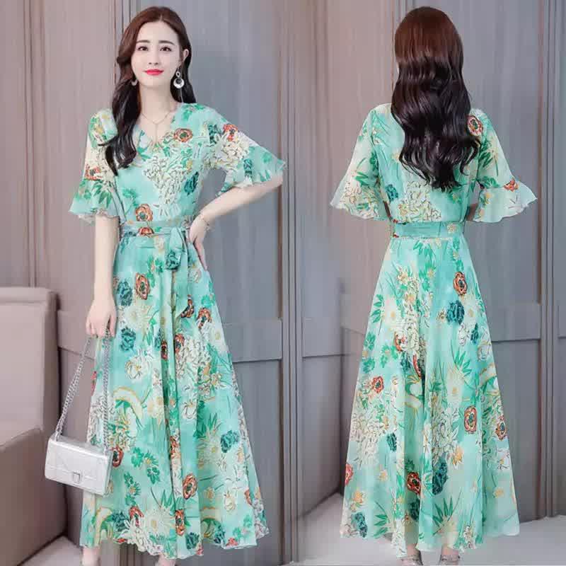 Ladies Fashion Print Style Slim V Neck Middle Waist Long Dress