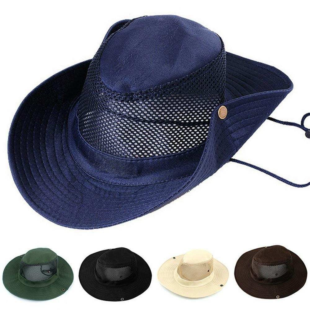 Fishing Climbing Hat Outdoor Camping Sunblock Mesh Hat with Big Brim Camouflage Hat Travel Sun Hat Bucket Hat Beige_M