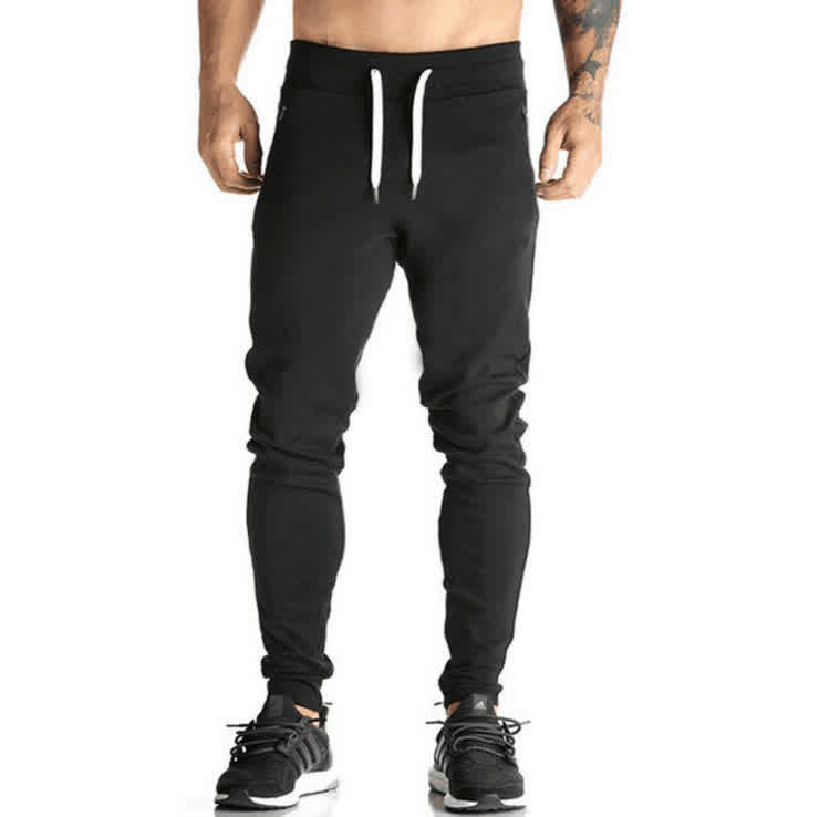 Men's Slim Casual Pants Stretch Cotton Running Sport Pencil Pants Thin Trousers