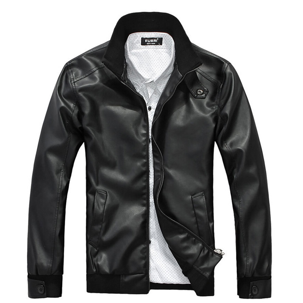 Men  Faux Leather Coat Stand Collar Ribbed Hem Slim  Overcoat