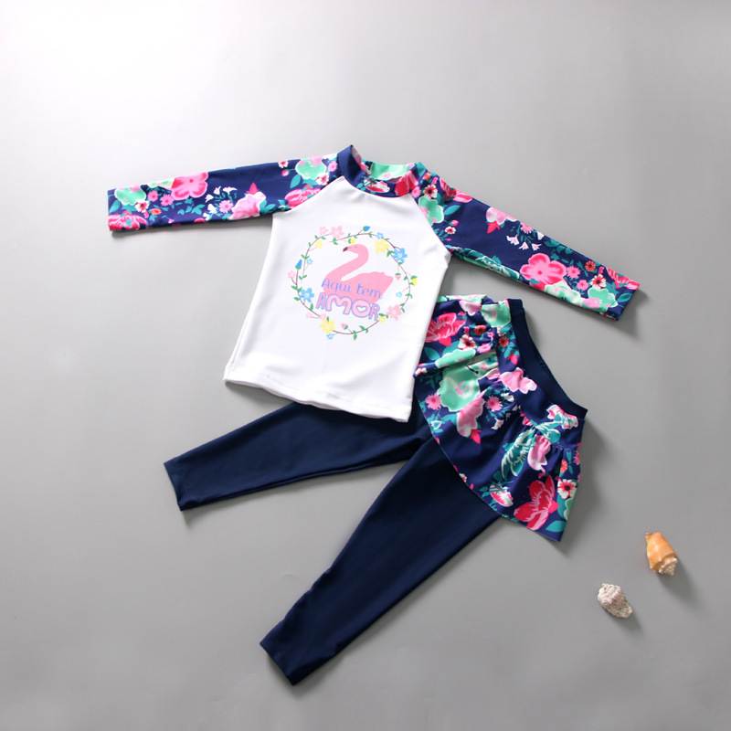 Kids Girls Cartoon Printing Quick Dry Long Sleeve Top Pants Muslim Swimwear Set