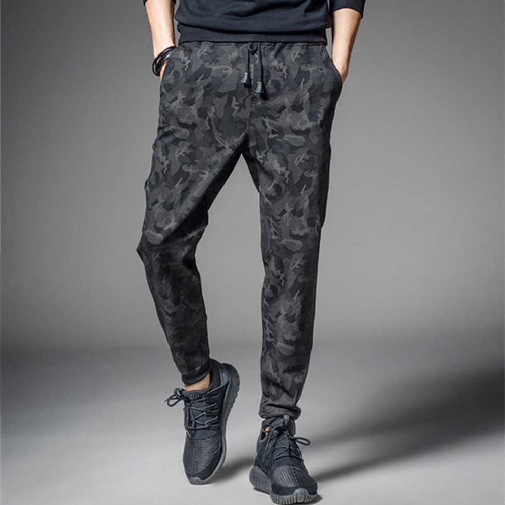 Men Fashion Casual  Pants for Sports  Leather rope