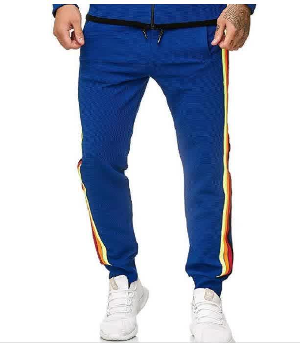 Men Casual Sports Pants Side Multi-color Ribbon Fa...