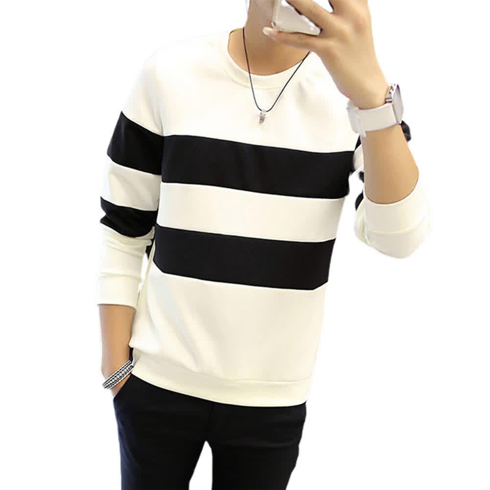 Men Stripe Crew-Neck Long Sleeve T-shirt Long Sleeve T-shirt for Office Casual