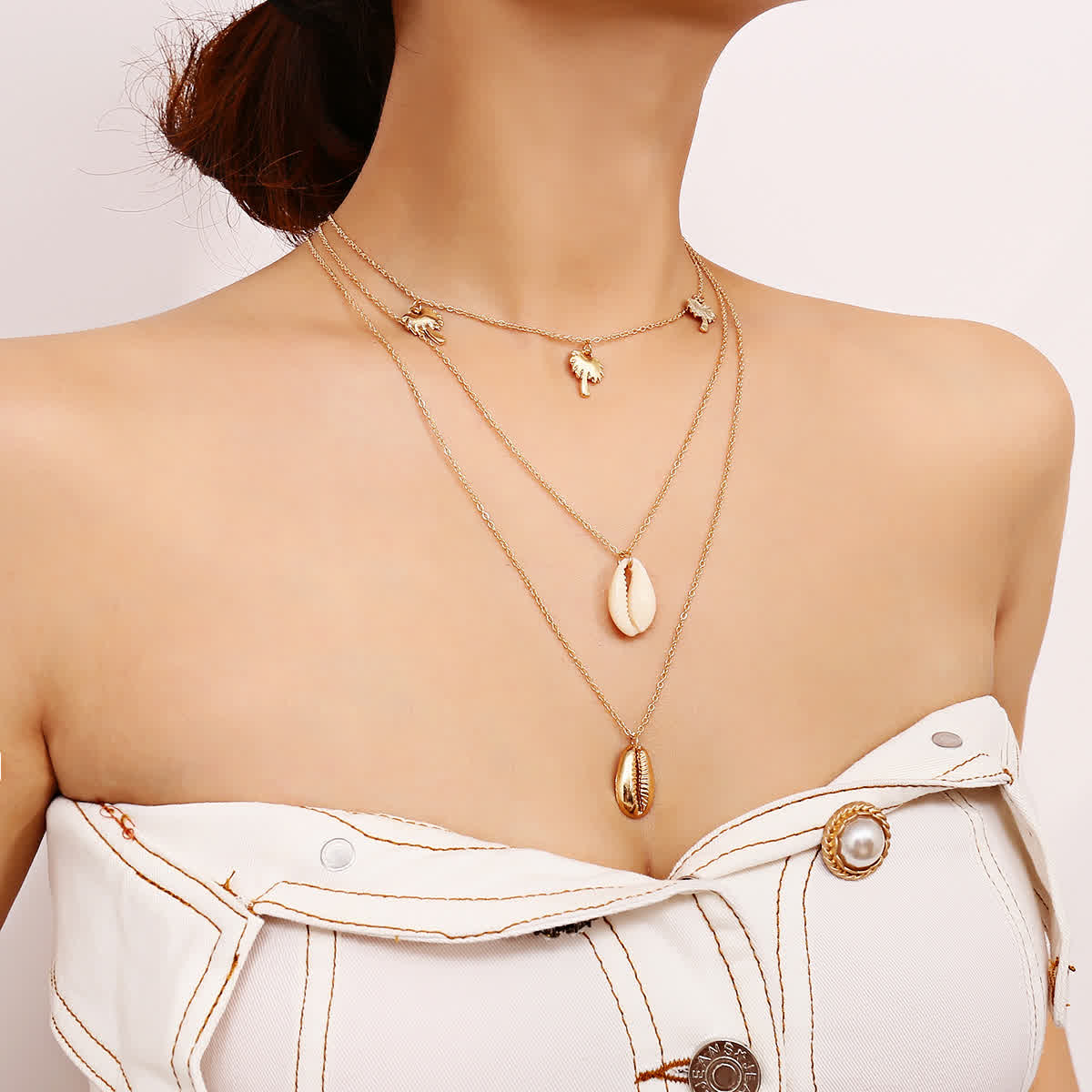 Bohemia Multilayer Coconut Tree Shell Choker Necklace Alloy Seashell Pendant Necklace for Women Gold