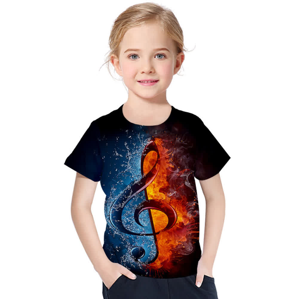 Boys Girls 3D Digital Printed Note T-shirt Round Neck Fashion Tops Small note