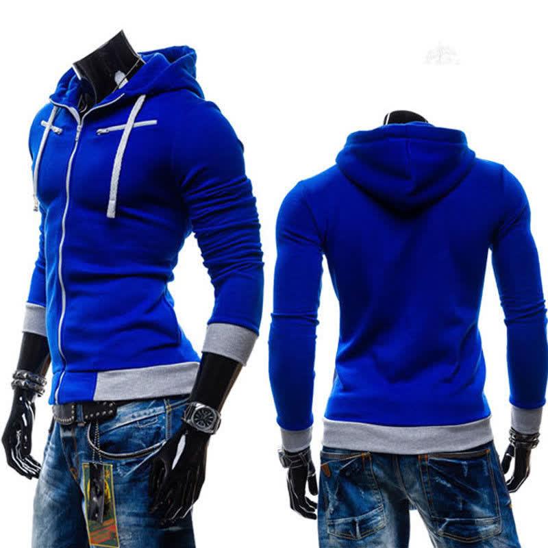 Men Fashion Matching Color Fleece Cardigan Hoodie Windproof Warm Drawstring