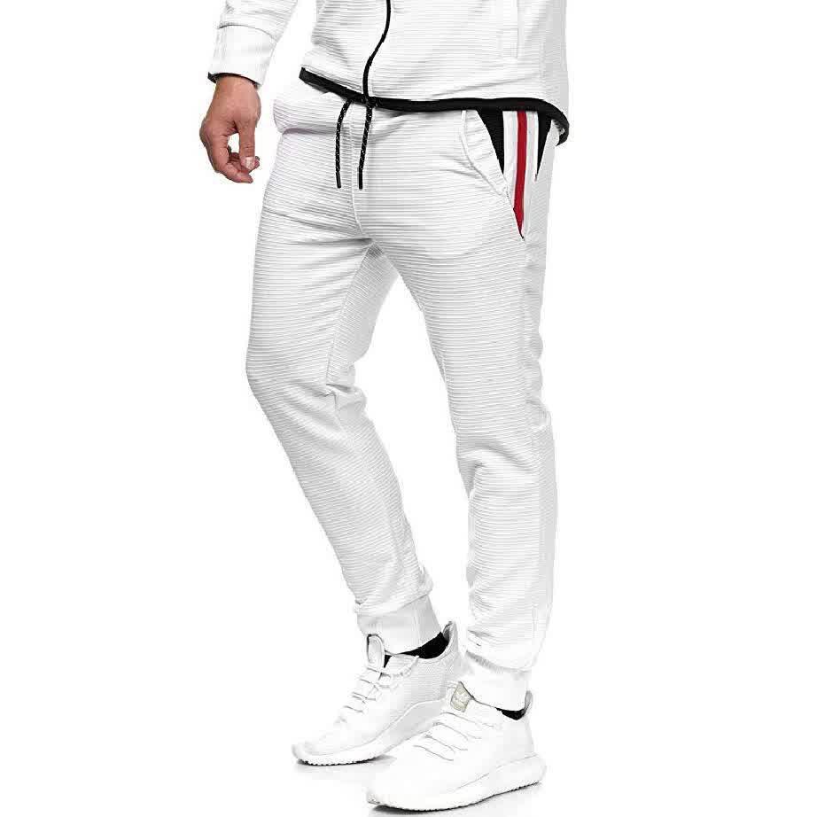 Men Fall Winter Casual Fashion Stripes Middle-Wais...
