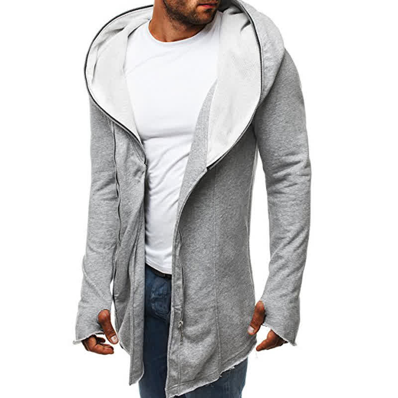 Men Dark Cloak Hoodie Fashionable Warm Hooded Pullover Top with Zipper
