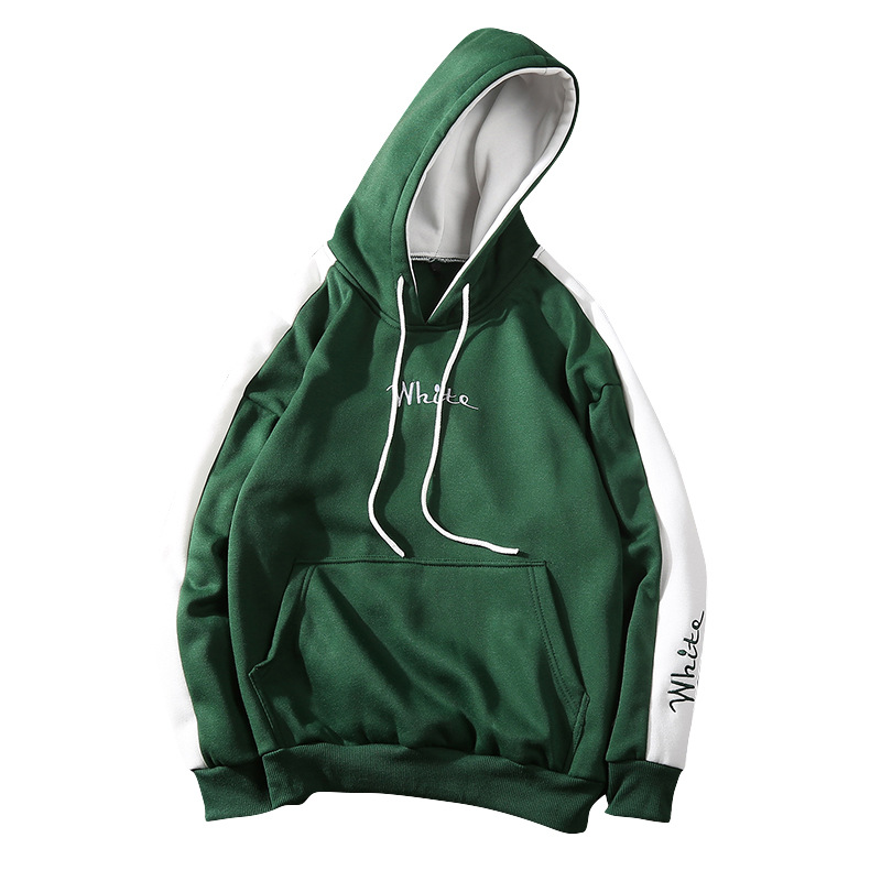 Men Fashion Hooded Sweatshirt Long-Sleeve Matching Color Casual Coat Tops for Winter Autumn white