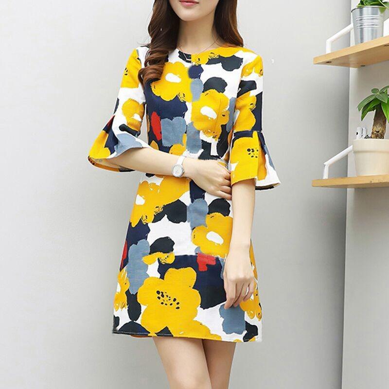 Women Fashion Chic Pringting Dress