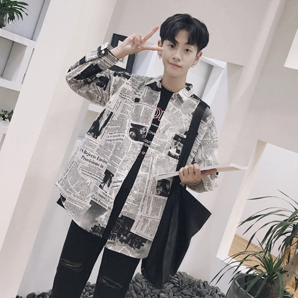 Fashion Spring Summer Long Sleeve Shirt with Newspaper  Loose Shirt Newspaper long lining