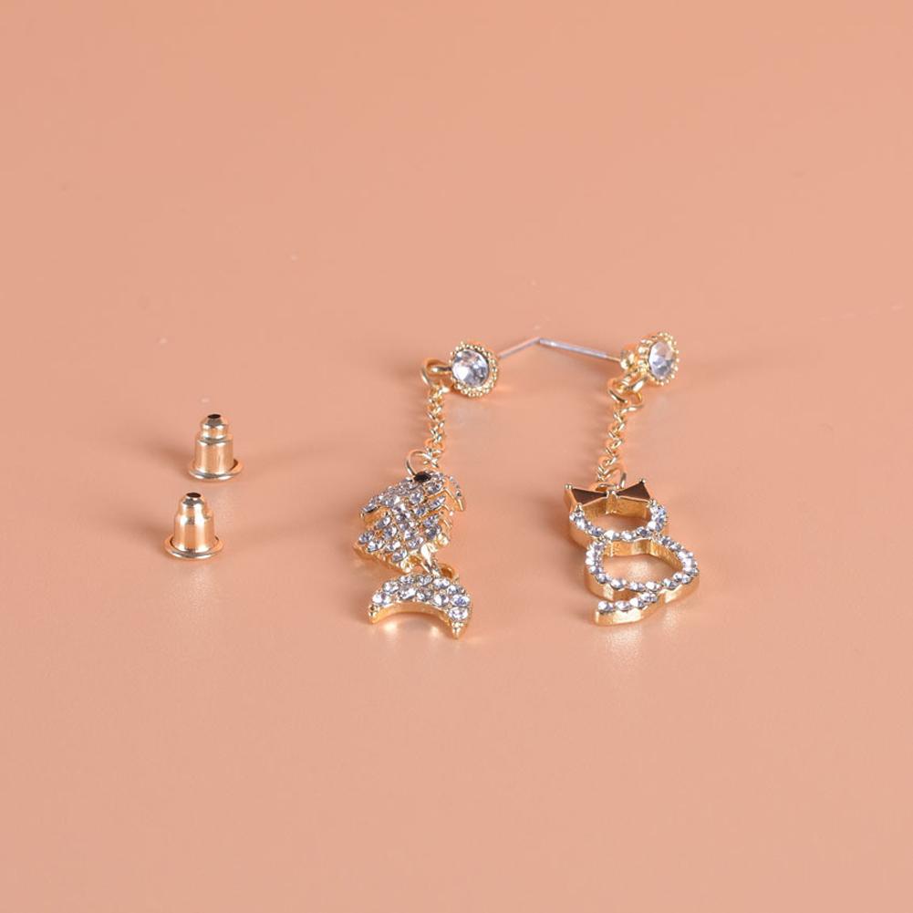 1 Pair of Women's Earrings s925 Silver Needle Animal and Fish Bone Shape Asymmetric Earrings Golden