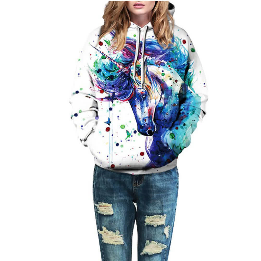 Couples Hooded 3D Inkjet Horsehead Printing Sweats...