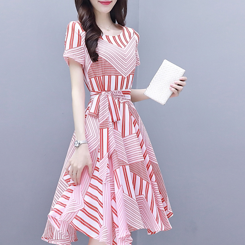 Women Pink Tight Waist Lacing Dress
