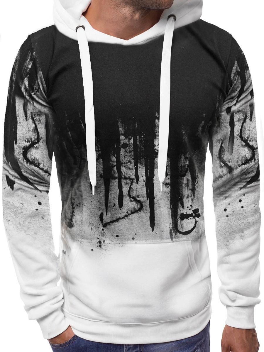 Men Casual Loose Long Sleeve Hoodie Chic Printed Sports Hooded Sweatshirt Pullover