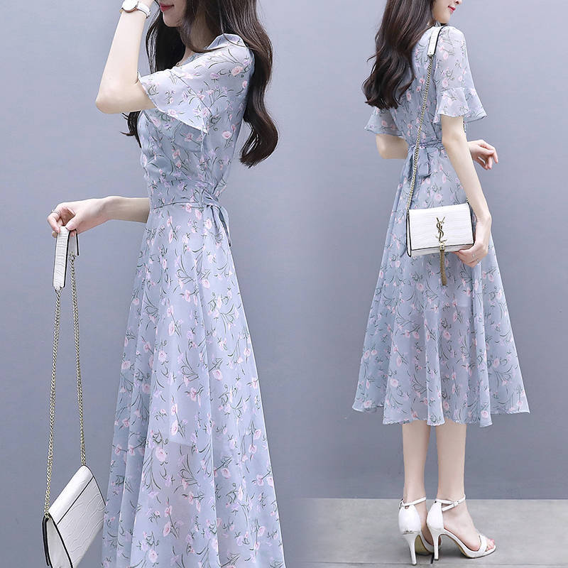Women Printing Mandarin Sleeve Dress